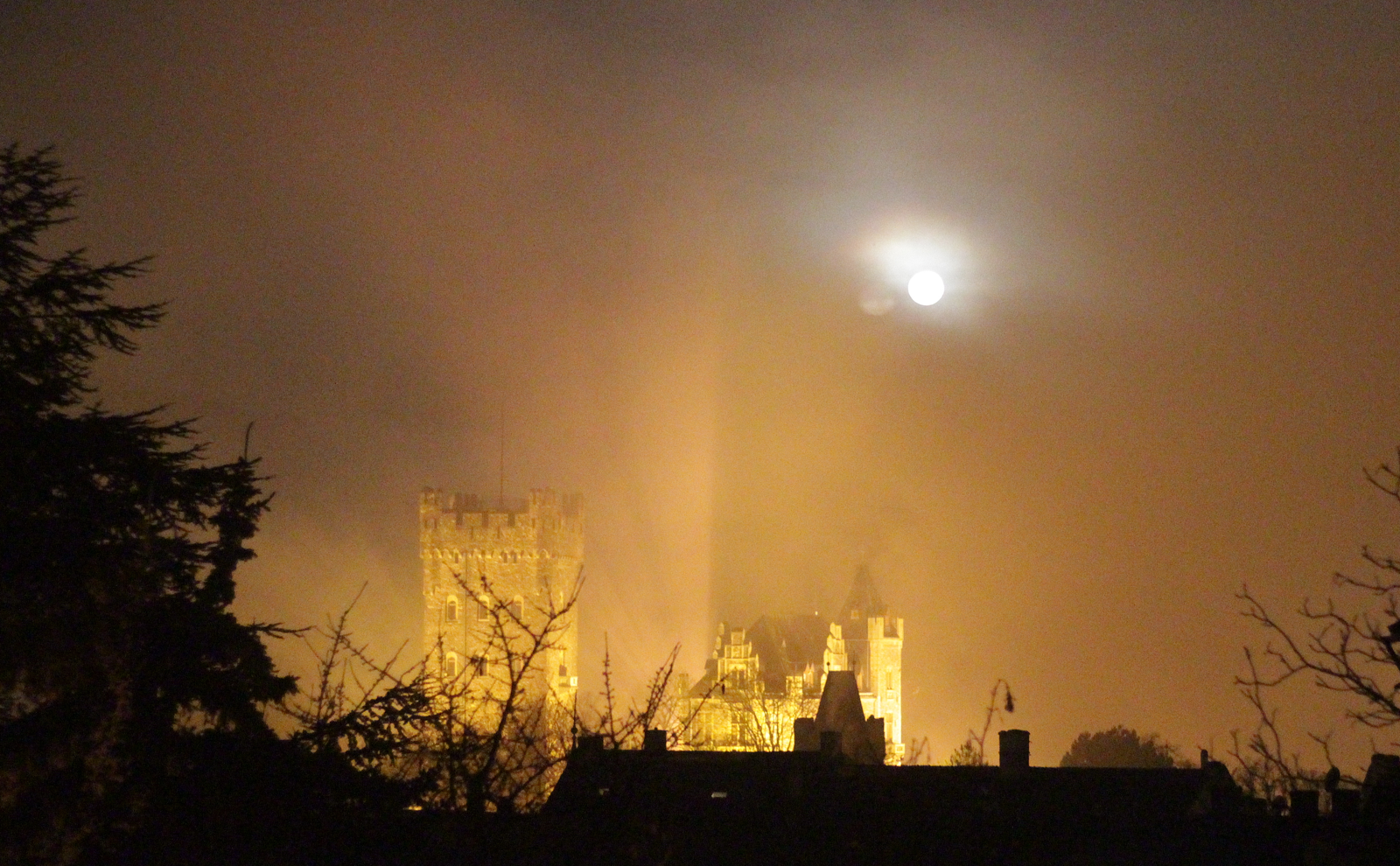 Burg Klopp im Morgennebel